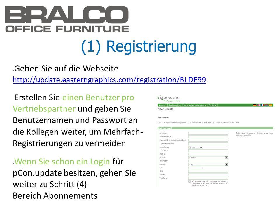 (1) Registrierung Gehen Sie auf die Webseite http://update.easterngraphics.com/registration/BLDE99.