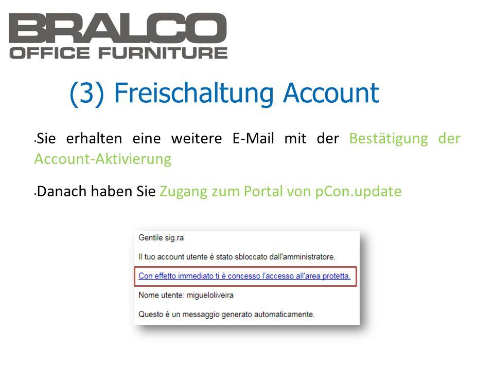 (3) Freischaltung Account