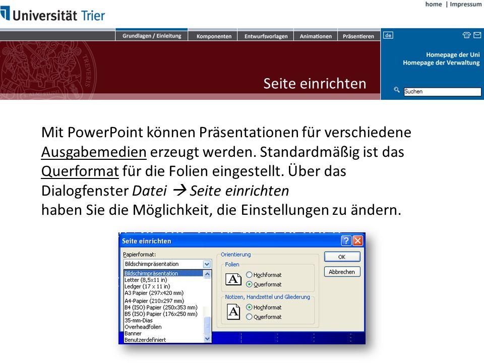 Mit PowerPoint können Präsentationen für verschiedene