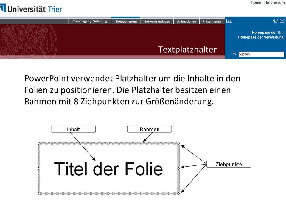 PowerPoint verwendet Platzhalter um die Inhalte in den