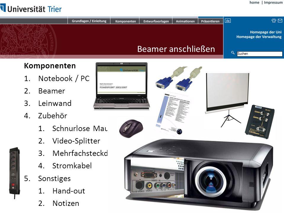 Beamer anschließen Komponenten Notebook / PC Beamer Leinwand Zubehör