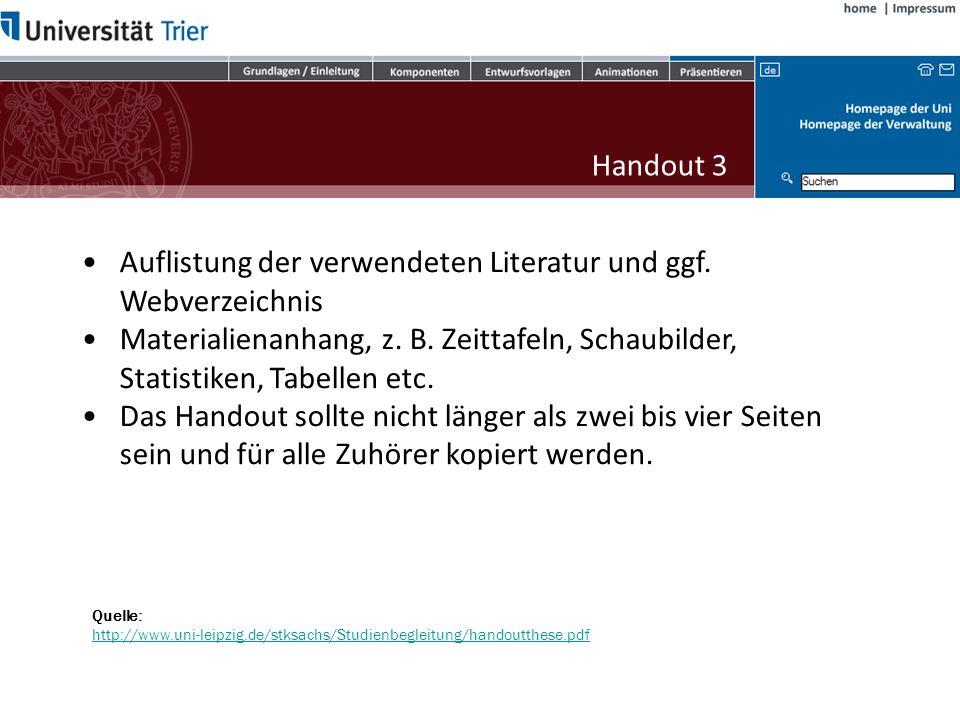 Auflistung der verwendeten Literatur und ggf. Webverzeichnis