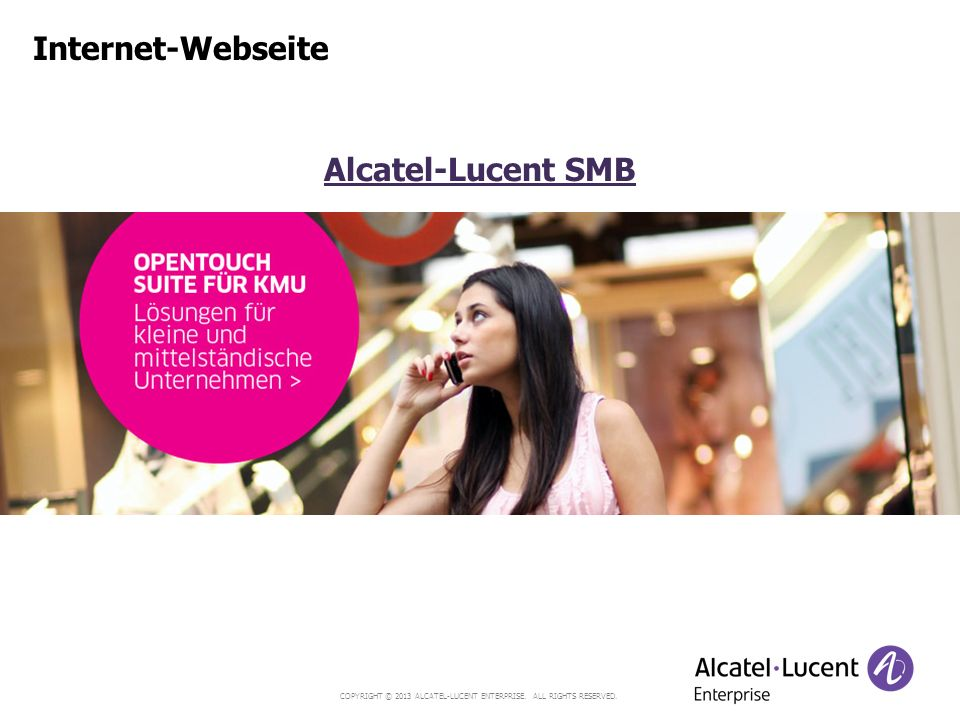 Internet-Webseite Alcatel-Lucent SMB