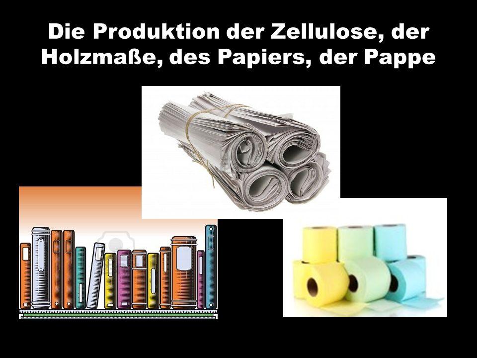 Die Produktion der Zellulose, der Holzmaße, des Papiers, der Pappe