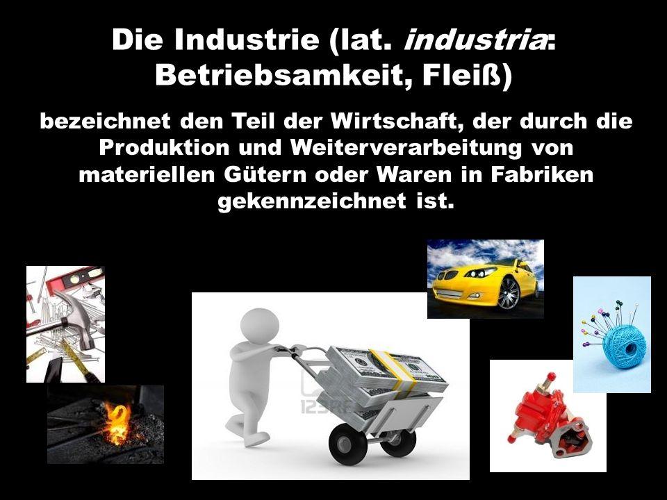 Die Industrie (lat. industria: Betriebsamkeit, Fleiß)