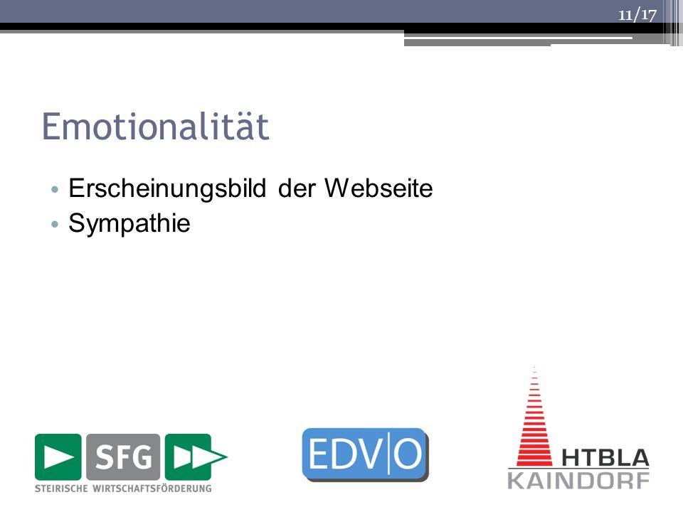 Emotionalität Erscheinungsbild der Webseite Sympathie