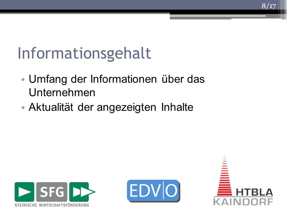 Informationsgehalt Umfang der Informationen über das Unternehmen