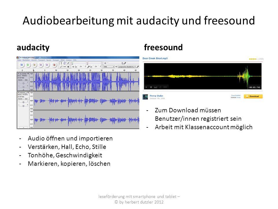 Audiobearbeitung mit audacity und freesound