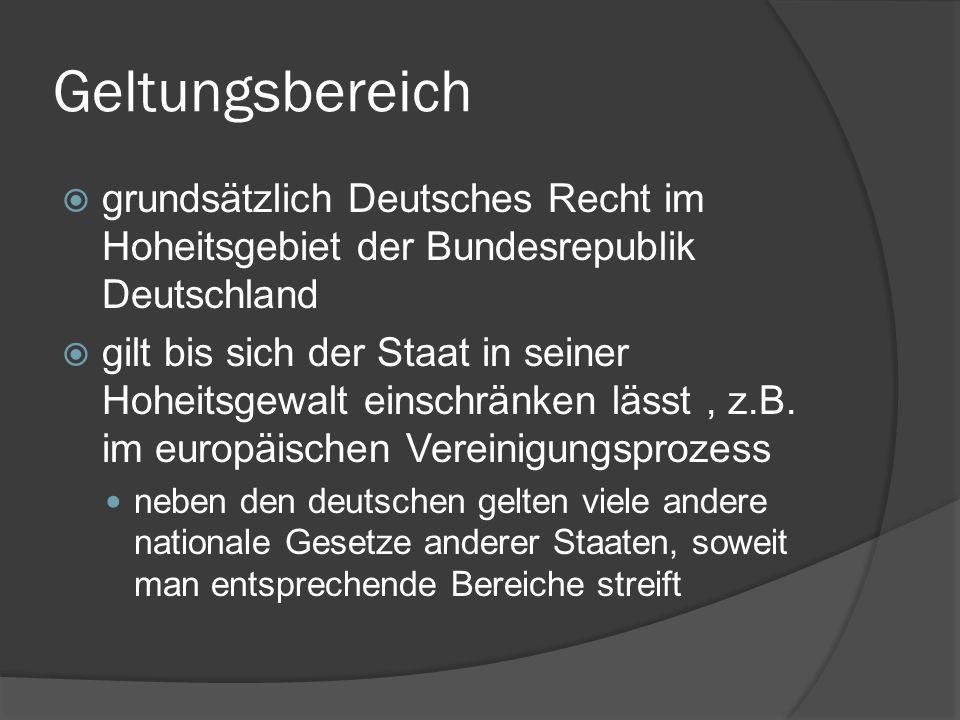 Geltungsbereich grundsätzlich Deutsches Recht im Hoheitsgebiet der Bundesrepublik Deutschland.