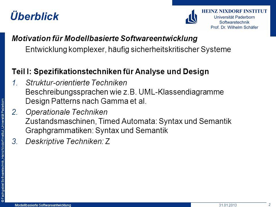 Überblick Motivation für Modellbasierte Softwareentwicklung
