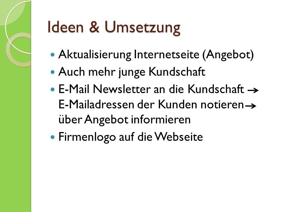 Ideen & Umsetzung Aktualisierung Internetseite (Angebot)