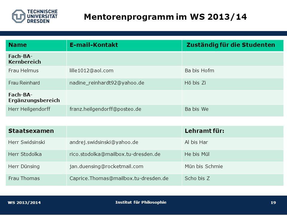 Mentorenprogramm im WS 2013/14