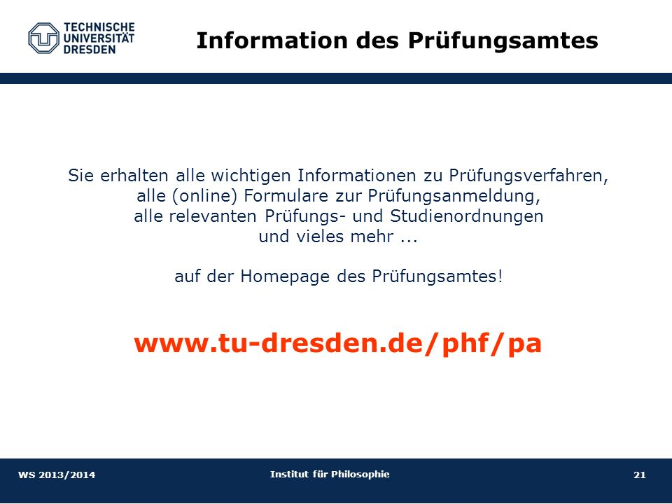 Information des Prüfungsamtes