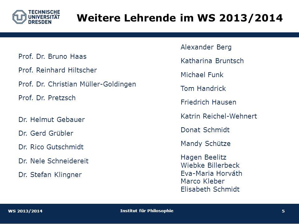 Weitere Lehrende im WS 2013/2014