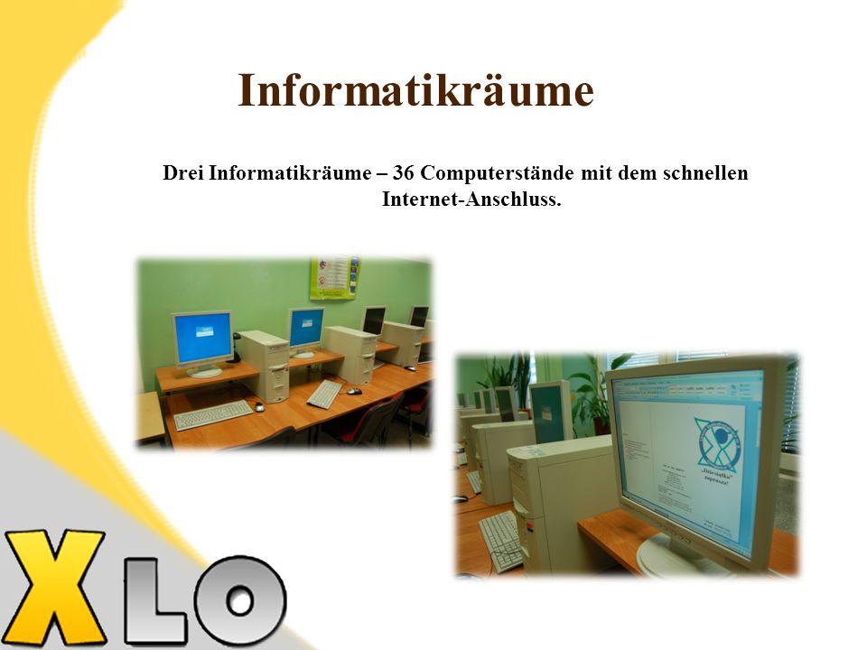 Informatikräume Drei Informatikräume – 36 Computerstände mit dem schnellen Internet-Anschluss. 26