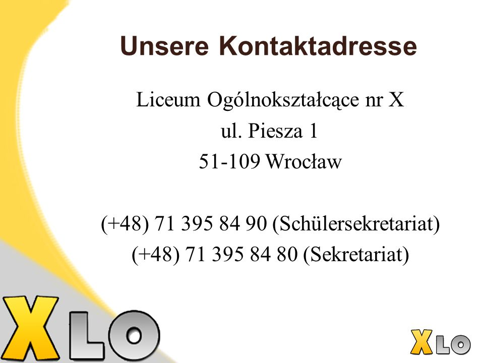 Unsere Kontaktadresse