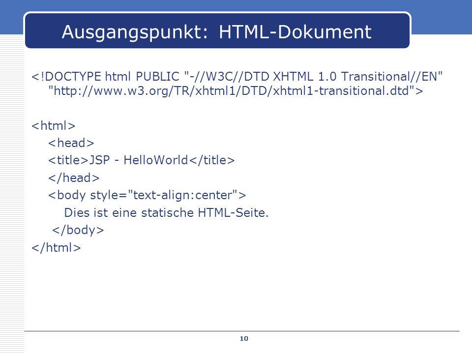 Ausgangspunkt: HTML-Dokument