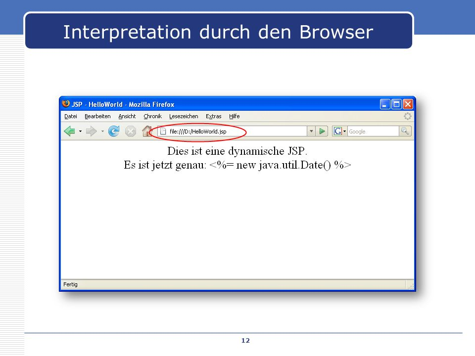 Interpretation durch den Browser