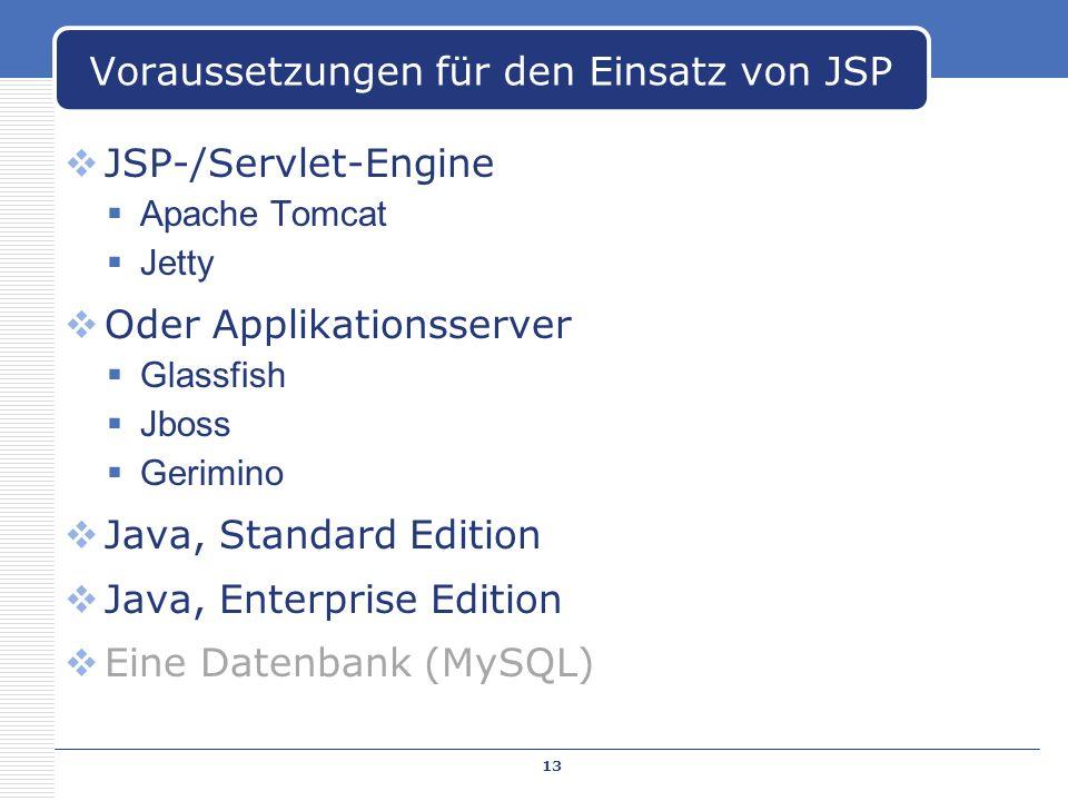 Voraussetzungen für den Einsatz von JSP