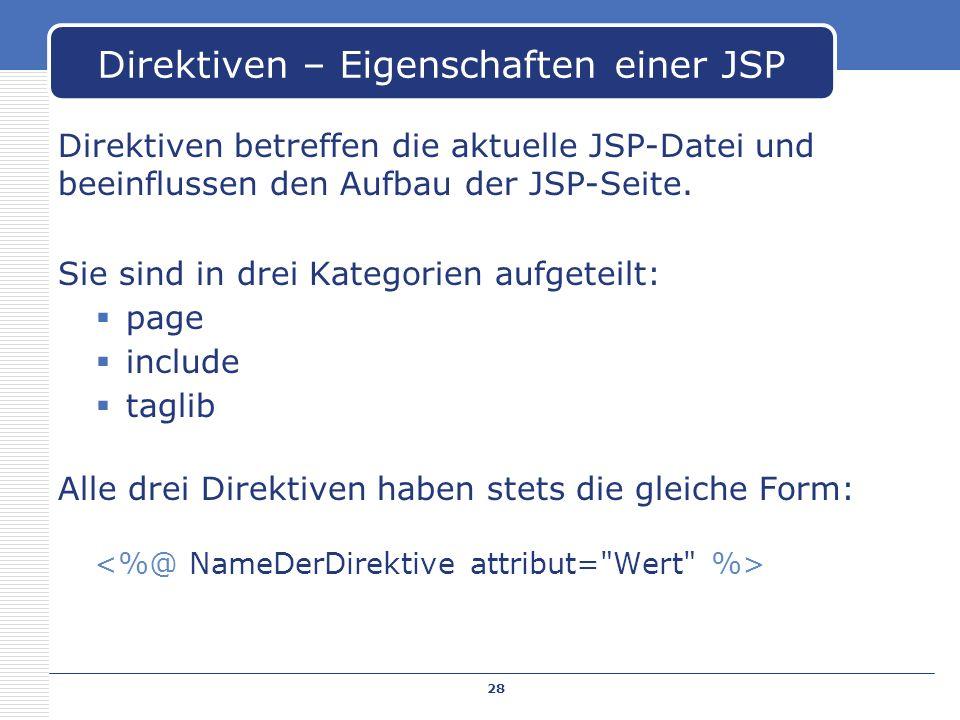 Direktiven – Eigenschaften einer JSP