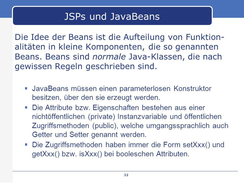 JSPs und JavaBeans
