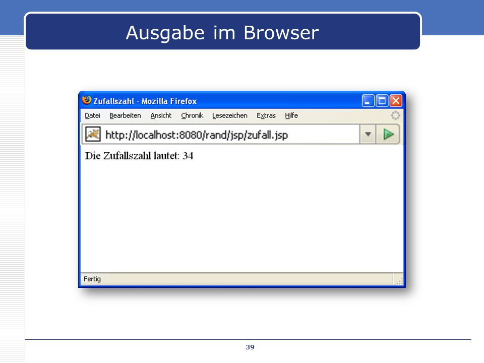 Ausgabe im Browser