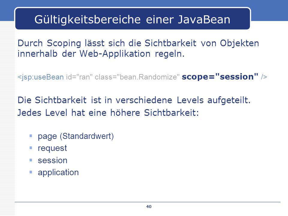 Gültigkeitsbereiche einer JavaBean