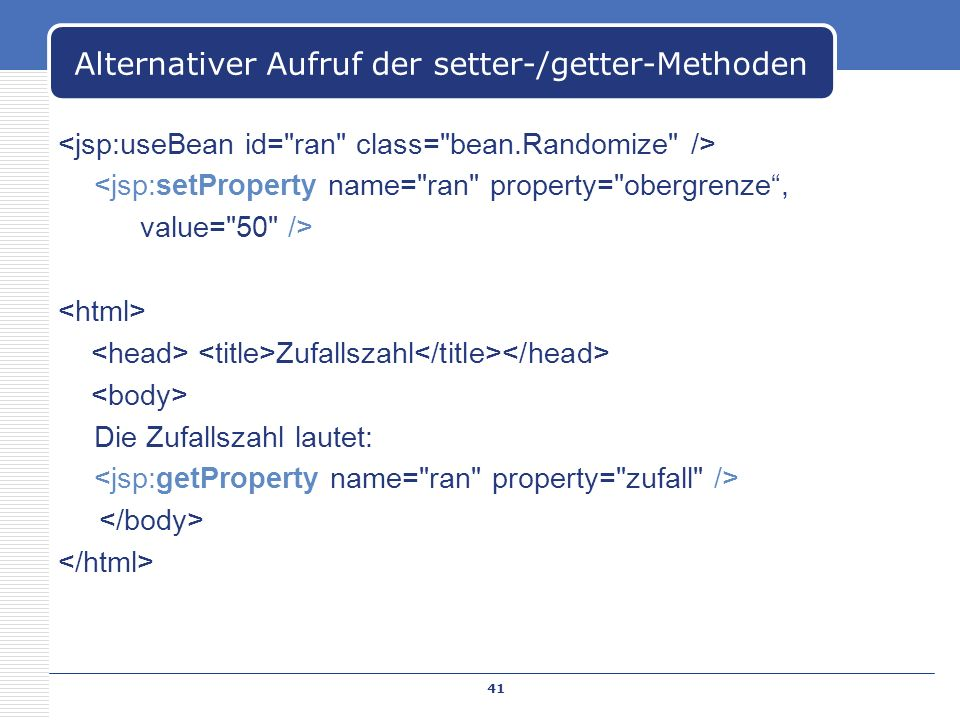 Alternativer Aufruf der setter-/getter-Methoden