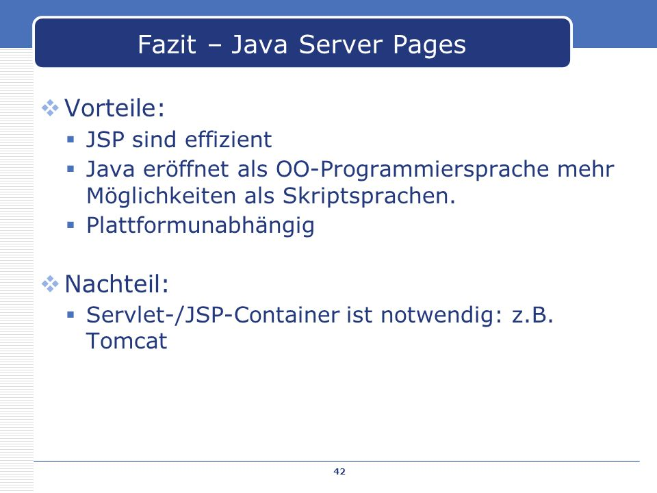 Fazit – Java Server Pages