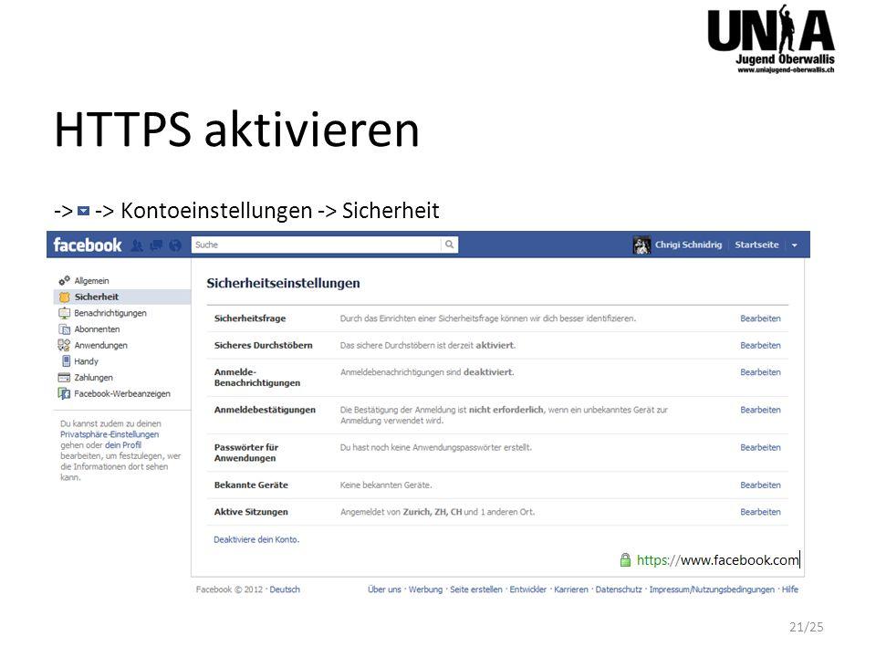 HTTPS aktivieren -> -> Kontoeinstellungen -> Sicherheit