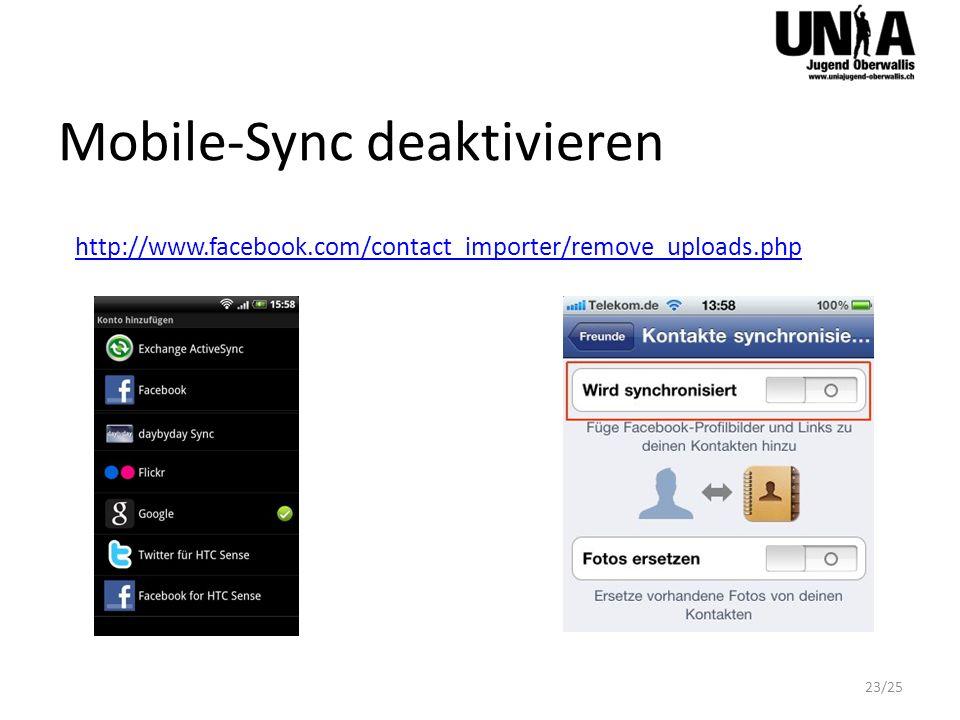 Mobile-Sync deaktivieren