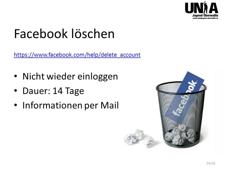 Facebook löschen Nicht wieder einloggen Dauer: 14 Tage