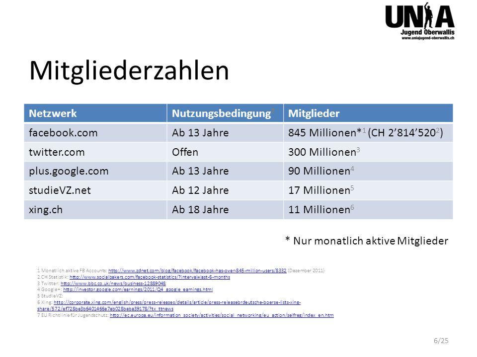Mitgliederzahlen Netzwerk Nutzungsbedingung7 Mitglieder facebook.com