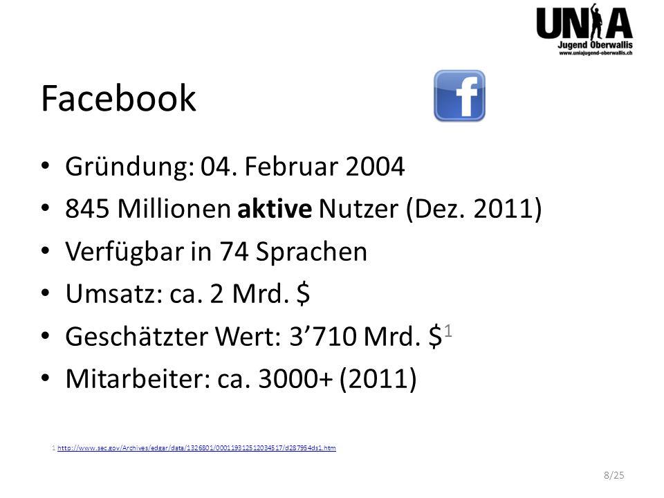 Facebook Gründung: 04. Februar 2004