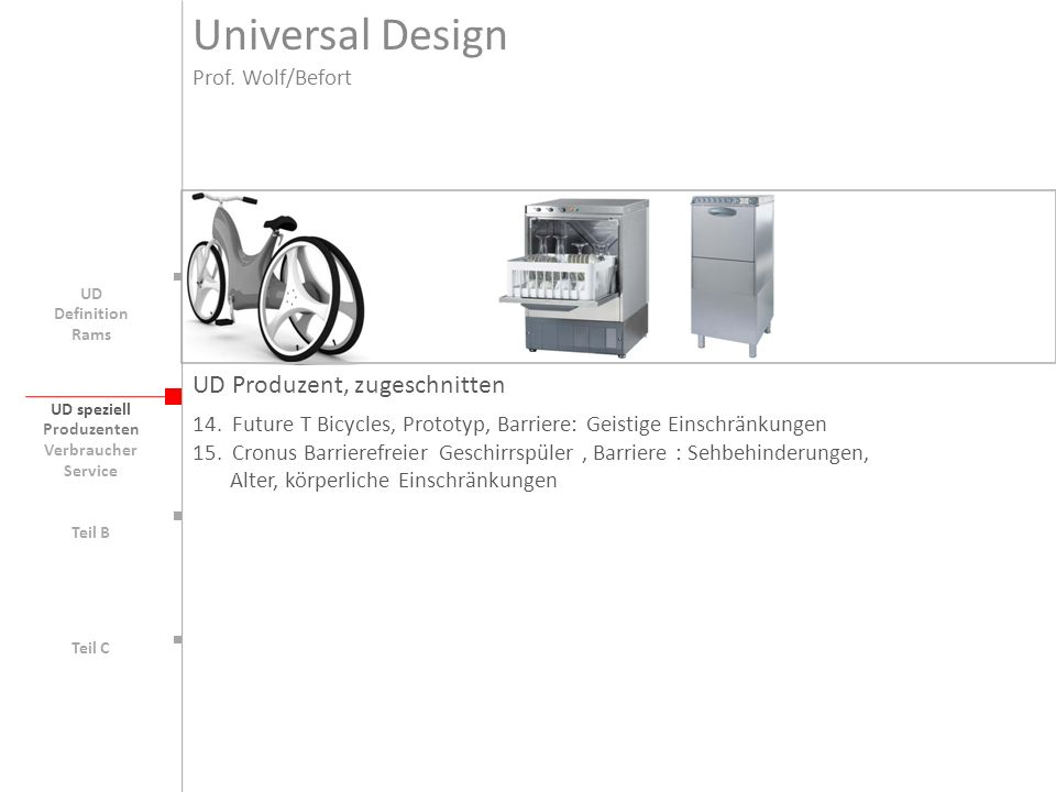 Universal Design UD Produzent, zugeschnitten Prof. Wolf/Befort