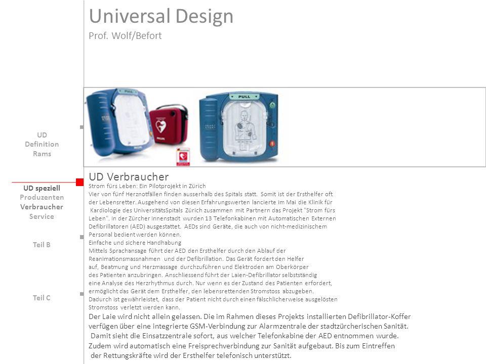 Universal Design UD Verbraucher Prof. Wolf/Befort UD Definition Rams
