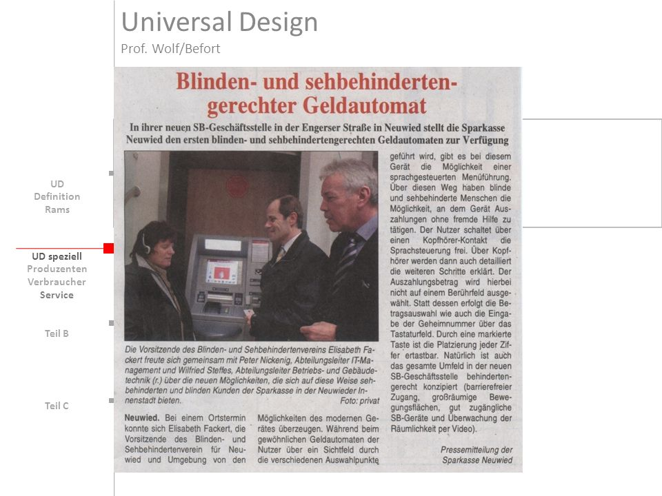 Universal Design Prof. Wolf/Befort UD Definition Rams UD speziell
