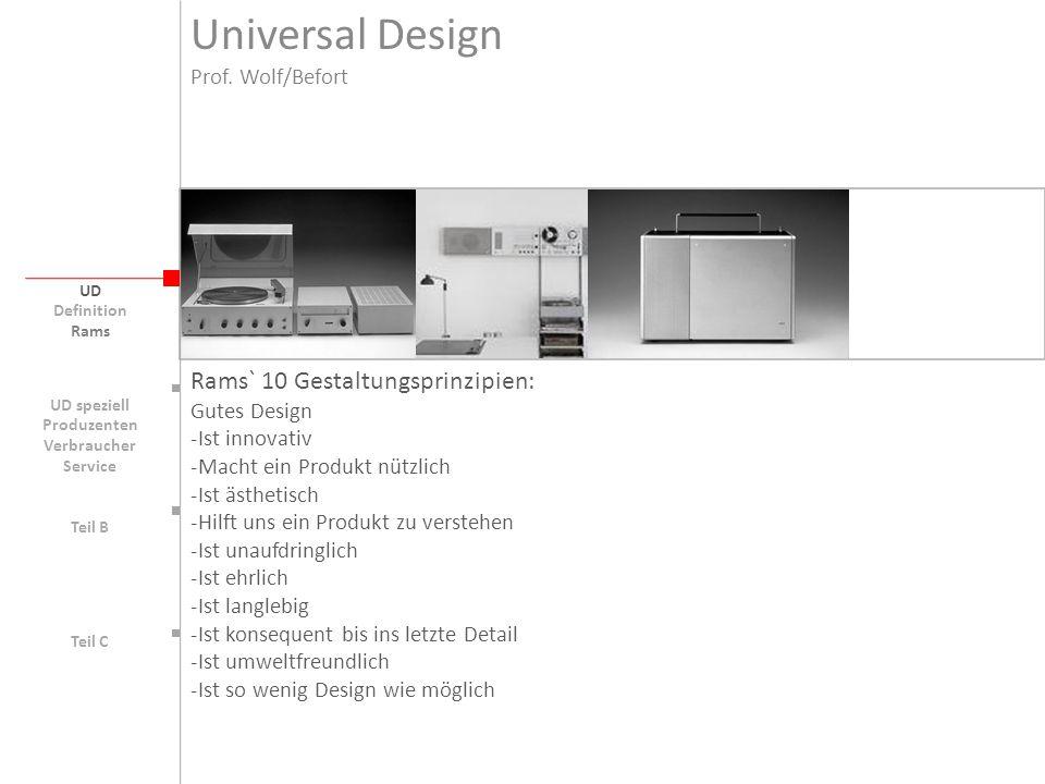 Universal Design Rams` 10 Gestaltungsprinzipien: Prof. Wolf/Befort