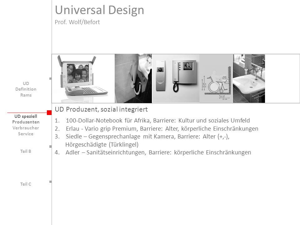 Universal Design UD Produzent, sozial integriert Prof. Wolf/Befort
