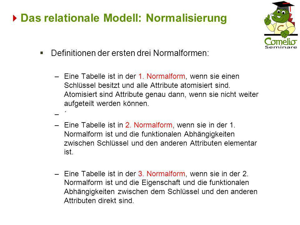 Das relationale Modell: Normalisierung