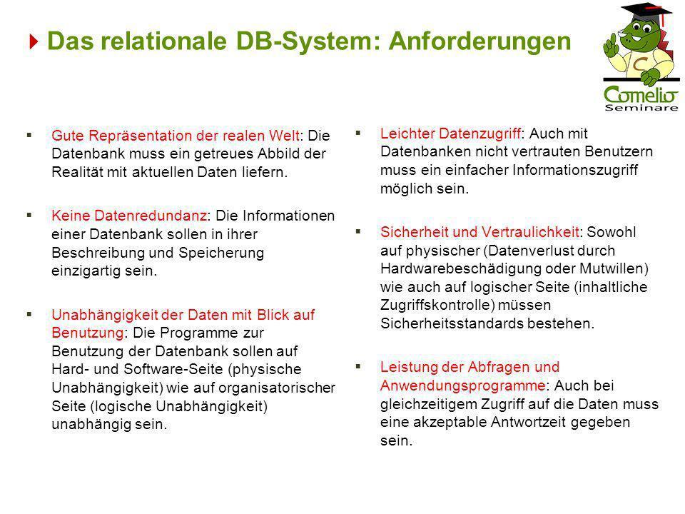 Das relationale DB-System: Anforderungen