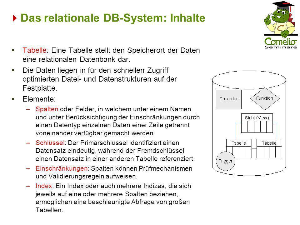 Das relationale DB-System: Inhalte
