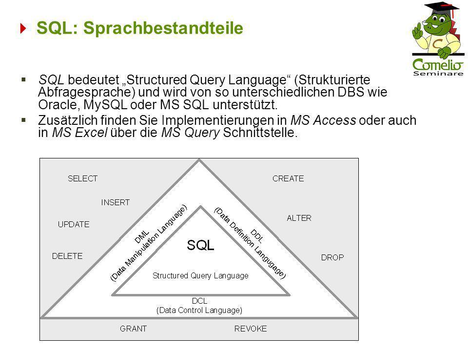  SQL: Sprachbestandteile
