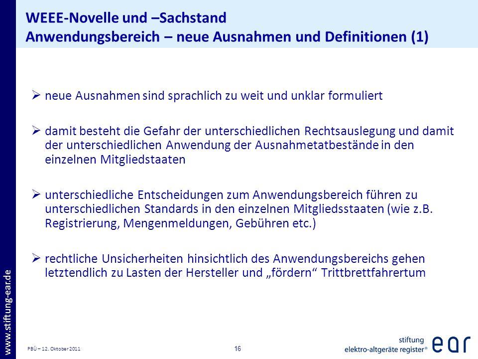 WEEE-Novelle und –Sachstand Anwendungsbereich – neue Ausnahmen und Definitionen (1)