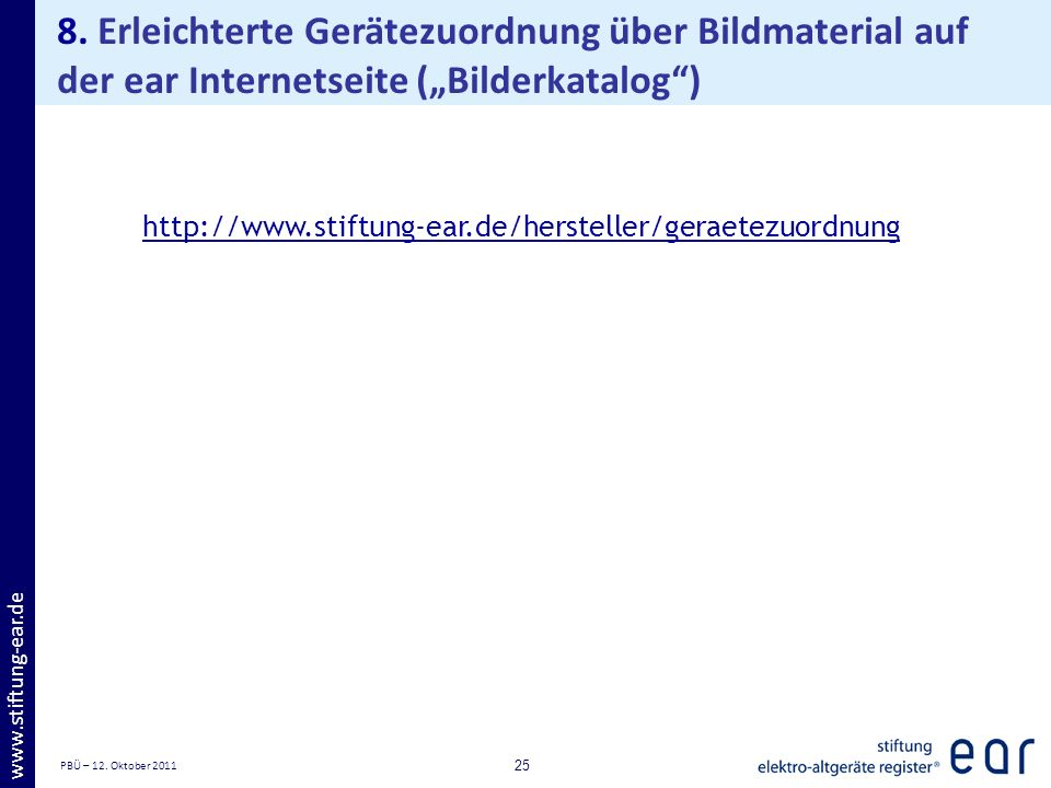"""8. Erleichterte Gerätezuordnung über Bildmaterial auf der ear Internetseite (""""Bilderkatalog )"""