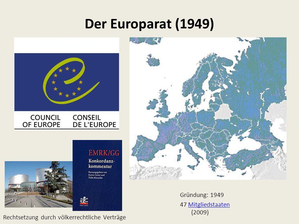 Der Europarat (1949) Gründung: 1949 47 Mitgliedstaaten (2009)