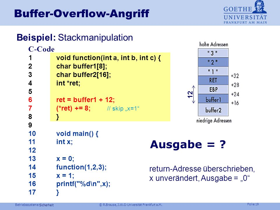 Buffer-Overflow-Angriff