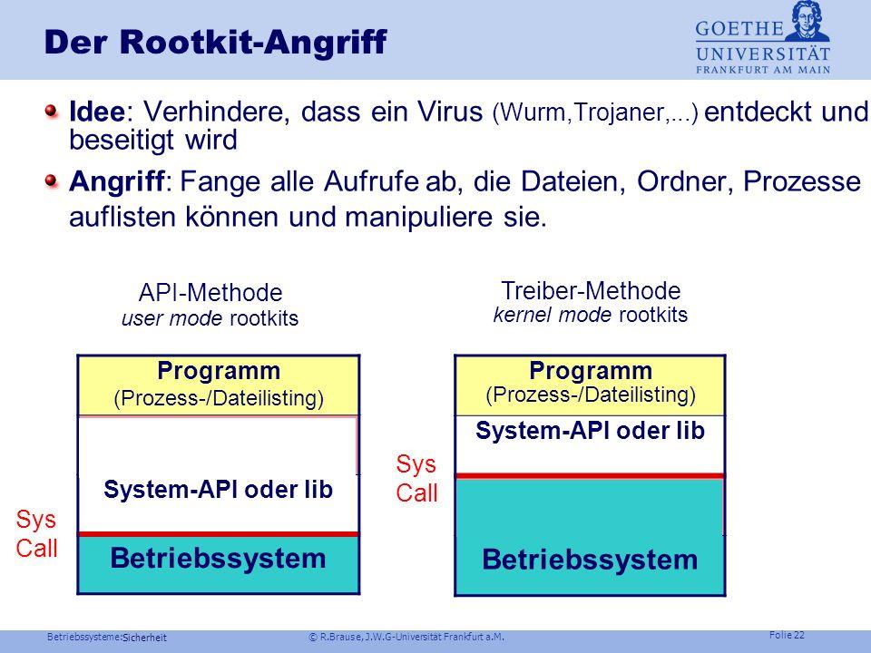 Der Rootkit-Angriff Idee: Verhindere, dass ein Virus (Wurm,Trojaner,...) entdeckt und beseitigt wird.