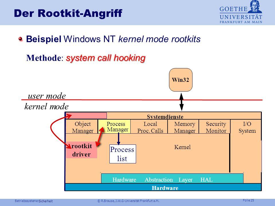 Der Rootkit-Angriff Beispiel Windows NT kernel mode rootkits
