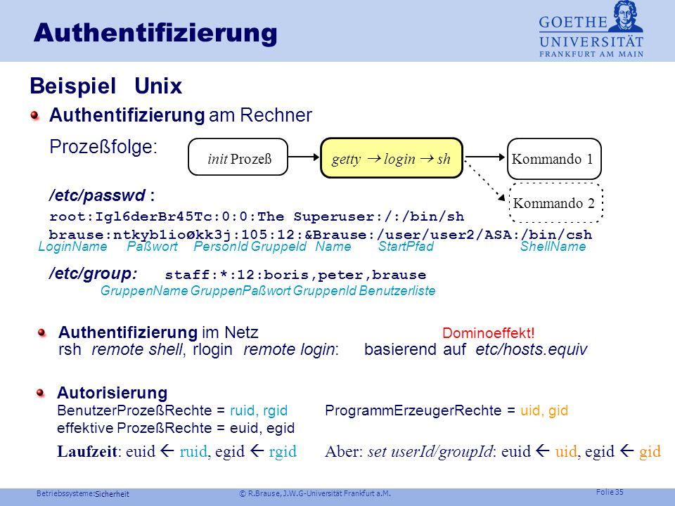 Authentifizierung Beispiel Unix Prozeßfolge:
